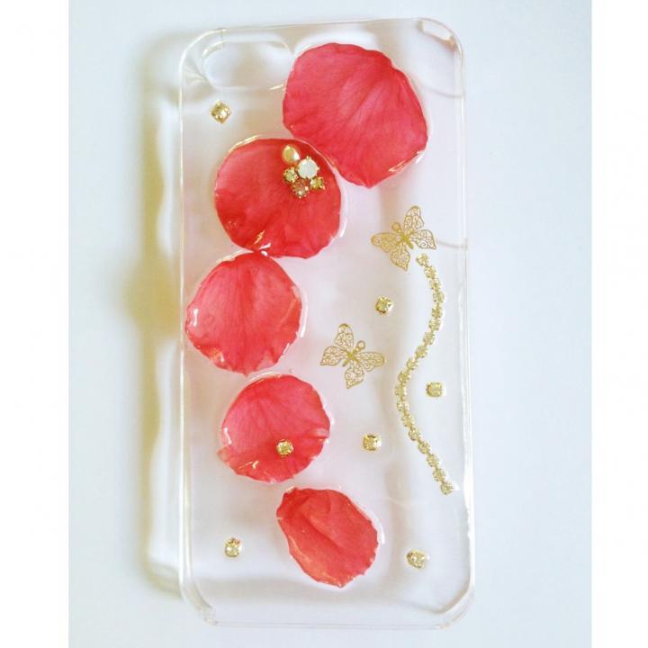 鮮やかな赤いバラのクリアハードケース iPhone 5ケース