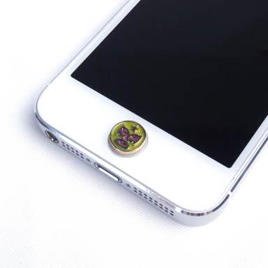 暗闇で光る 蓄光ボタンステッカー マスク/イエロー iPhone/iPad