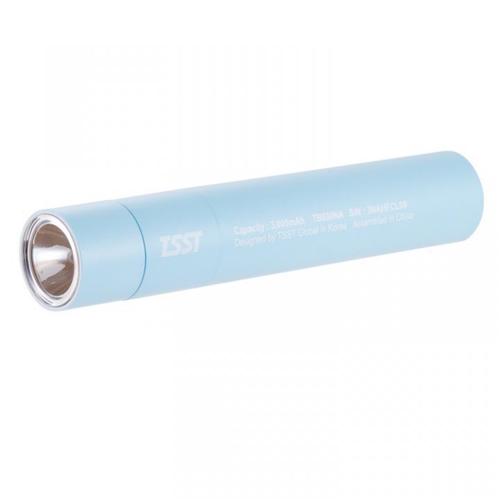 [3000mAh]TSST 脱着可能なLEDライト付き モバイルバッテリー ブルー_0