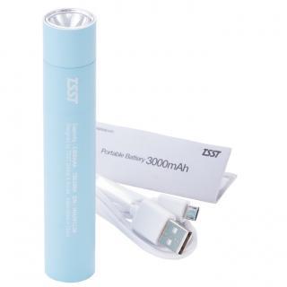 [3000mAh]TSST 脱着可能なLEDライト付き モバイルバッテリー ブルー_3
