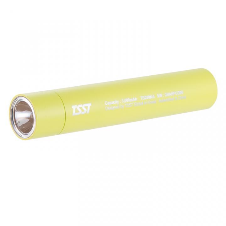 [3000mAh]TSST 脱着可能なLEDライト付き モバイルバッテリー グリーン