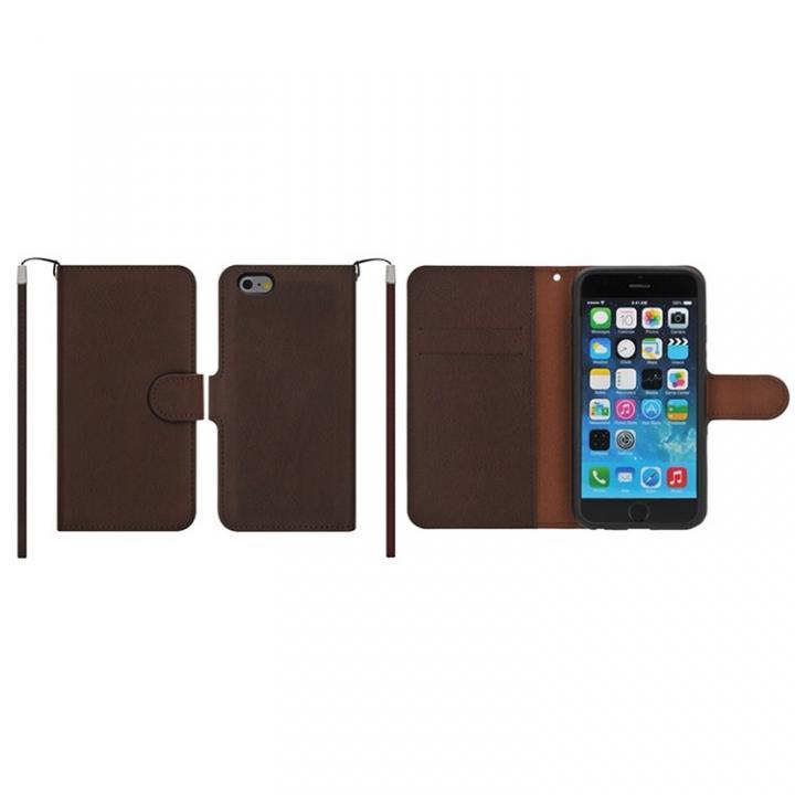 【iPhone6ケース】マグネットレザー手帳型ケース iPhone 6s/6 ダークブラウン_0