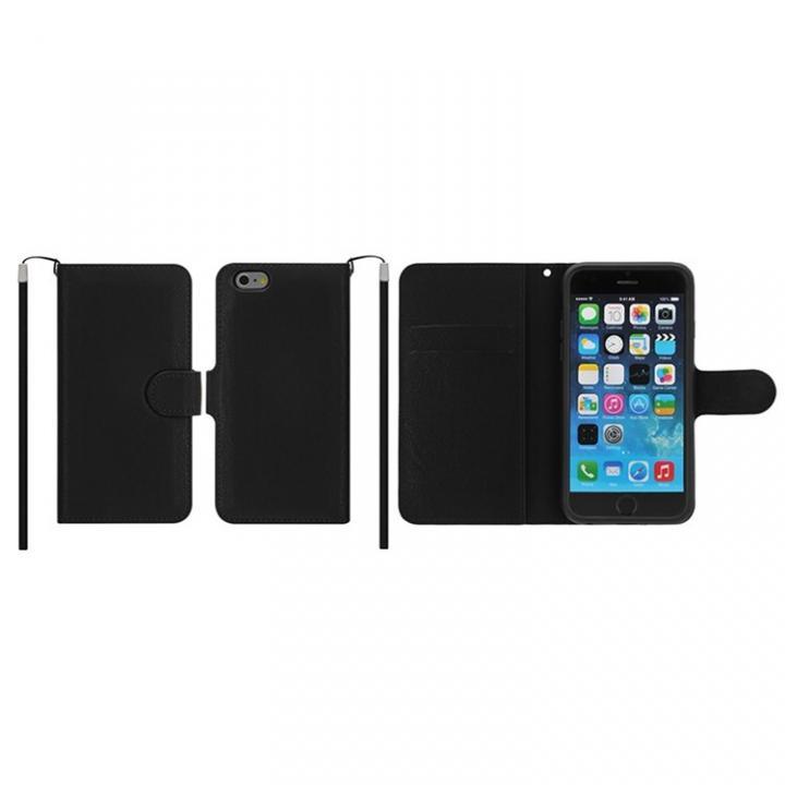 【iPhone6ケース】マグネットレザー手帳型ケース iPhone 6s/6 ブラック_0