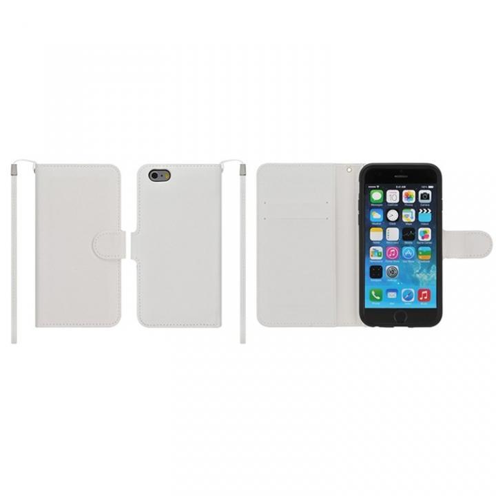 【iPhone6ケース】マグネットレザー手帳型ケース iPhone 6s/6 ホワイト_0