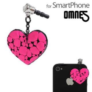 OMNES イヤホンジャックアクセサリー  -Heart- neon pink