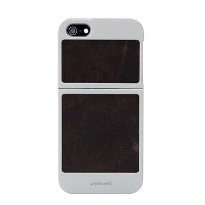 iPhone SE/5s/5 ケース 天然牛革 ツーピーススライダーケース シルバー/ダークブラウン Classique iPhone SE/5s/5_0