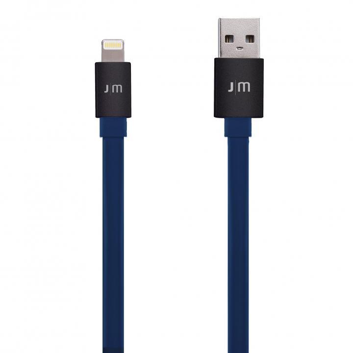 [1.2m]アルミコネクタがカッコイイ Just Mobile Lightningフラットケーブル ブラック/ブルー_0