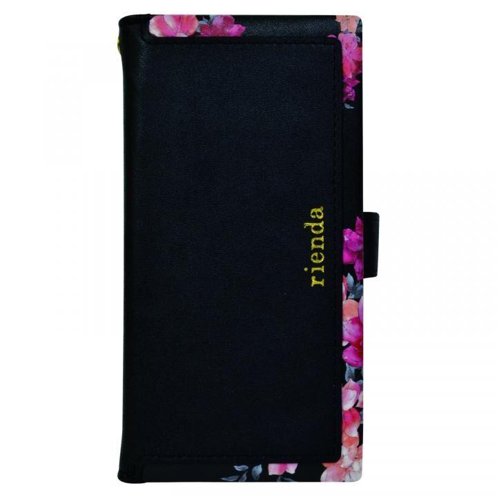 iPhone XS/X/8/8 Plus ケース rienda マルチ対応手帳型ケース スクエア Emerges Flower/ブラック【8月下旬】_0