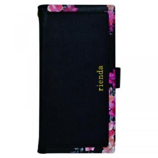 iPhone XS/X/8 Plus ケース rienda マルチ対応手帳型ケース スクエア Emerges Flower/ブラック