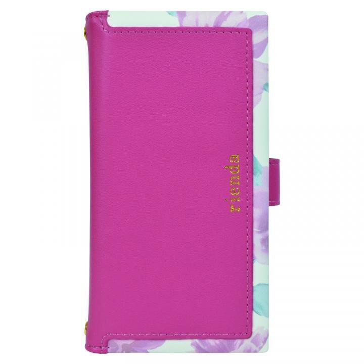 iPhone XS/X/8/8 Plus ケース rienda マルチ対応手帳型ケース スクエア Lace Flower/ピンク_0