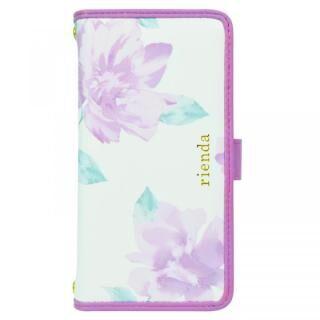 iPhone XS/X/8 Plus ケース rienda マルチ対応手帳型ケース パイピング/Lace Flower ホワイト【7月下旬】