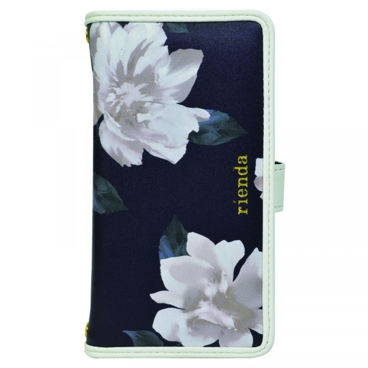 iPhone XS/X/8/8 Plus ケース rienda マルチ対応手帳型ケース パイピング/Lace Flower ネイビー_0