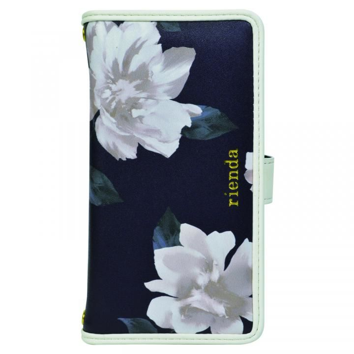iPhone XS/X/8/8 Plus ケース rienda マルチ対応手帳型ケース パイピング/Lace Flower ネイビー【2020年1月中旬】_0