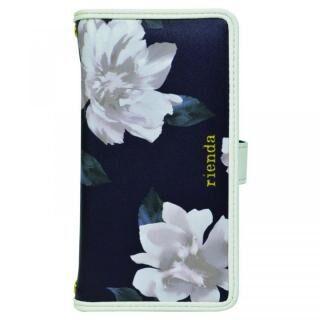 iPhone XS/X/8 Plus ケース rienda マルチ対応手帳型ケース パイピング/Lace Flower ネイビー【8月下旬】