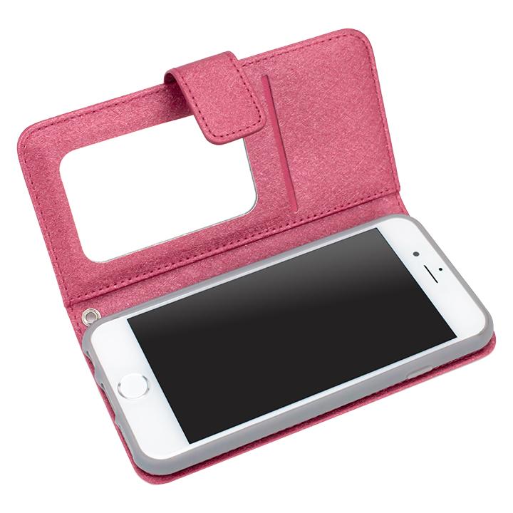 【iPhone6ケース】シャイニー 手帳型ミラー付ケース ローズピンク iPhone 6_0