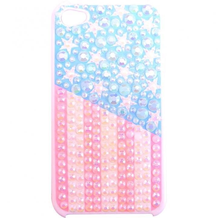 ラインストーンケース パステル USA iPhone 4/4sケース_0
