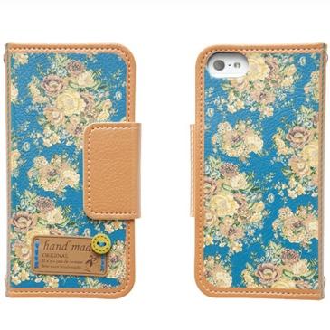 iPhone5 手帳型ケース Nosegay ブルー
