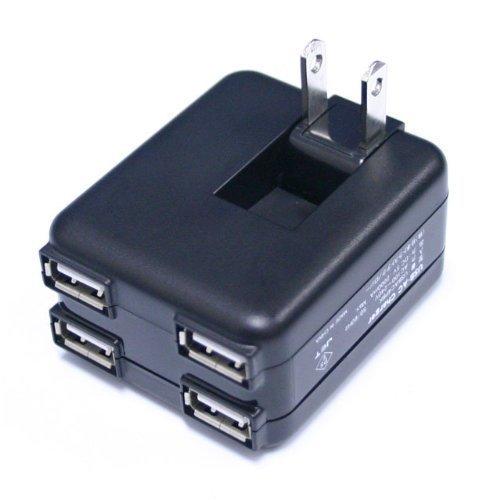 USB-ACチャージャー ACアダプター 4ポート ブラック