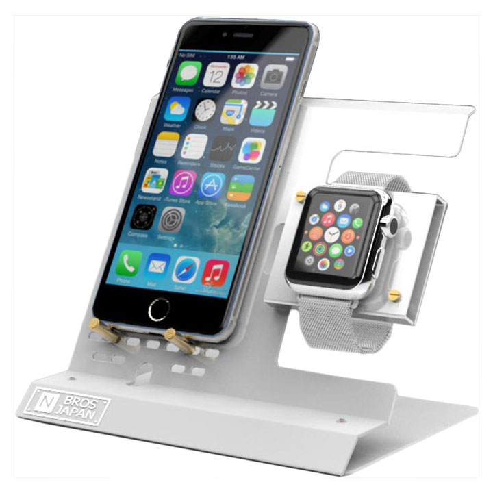 Apple Watch & iPhoneスタンド ステンレス&アルミ素材 ホワイト