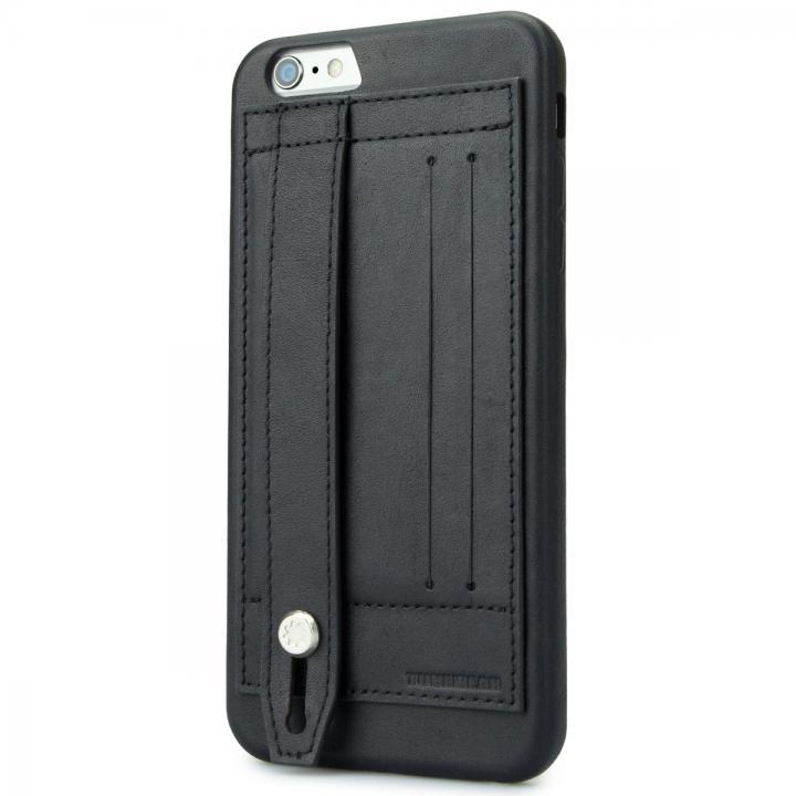 持ちやすくなるハンドル搭載 本革ケース FINGER SLIP ジェットブラック iPhone 6 Plus