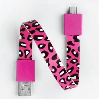 Mohzy Loop USB Cable-Cherry ヒョウ柄 (Micro USB)