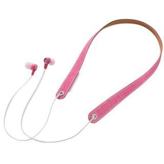 Bluetoothネックストラップイヤホン ピンク
