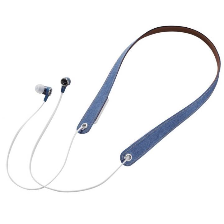 Bluetoothネックストラップイヤホン ブルー