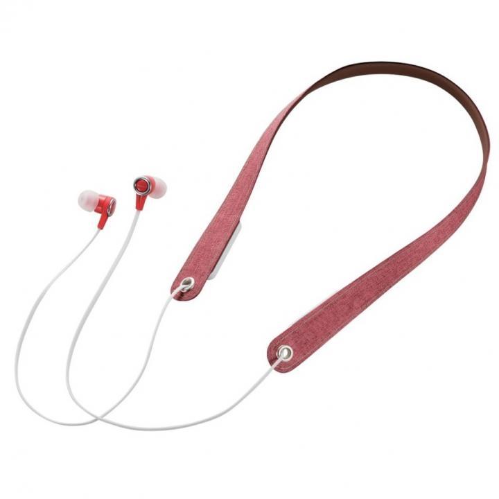 Bluetoothネックストラップイヤホン レッド_0