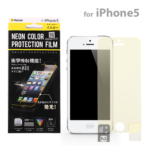 iPhone SE/5s/5 フィルム 光るフィルム NEON COLOR PROTECTION イエロー iPhone SE/5s/5c/5保護フィルム_0