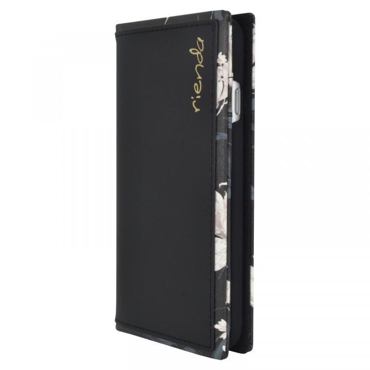 iPhone8/7/6s/6 ケース rienda スクエア手帳型ケース Grace Flower/ブラック iPhone SE 第2世代/8/7/6s/6_0