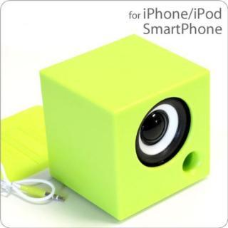 電池を使わないパッシブスピーカー ポムキューブ グリーン