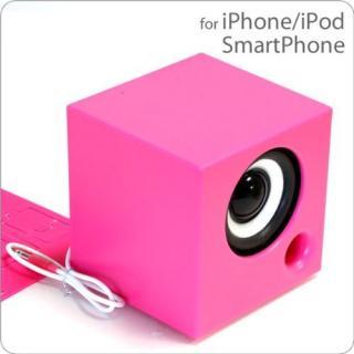 電池を使わないパッシブスピーカー ポムキューブ ピンク