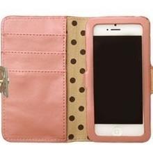 ドット猫プリント ピンク iPhone 5ケース
