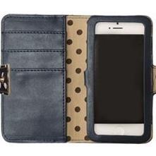 【iPhone SE/5s/5ケース】ドット猫プリント ネイビー iPhone 5ケース