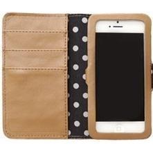 【iPhone SE/5s/5ケース】ドット猫プリント グレーベージュ iPhone 5ケース