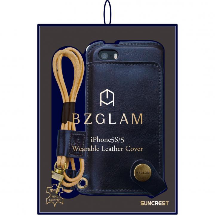 本物志向のレザーカバー BZGLAM本牛革ネックストラップカバー ネイビー iPhone SE/5s/5ケース