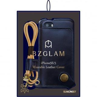 BZGLAM本牛革ネックストラップカバー ネイビー iPhone 5s/5ケース