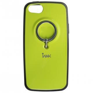 【iPhone SE ケース】IAMK 落下防止リング付きケース グリーン iPhone SE/5s/5