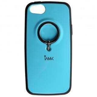 【iPhone SE ケース】IAMK 落下防止リング付きケース ブルー iPhone SE/5s/5
