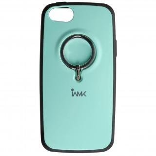 IAMK 落下防止リング付きケース ミント iPhone SE/5s/5