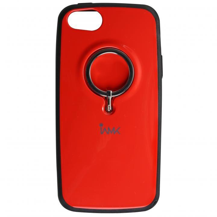 iPhone SE/5s/5 ケース IAMK 落下防止リング付きケース レッド iPhone SE/5s/5_0