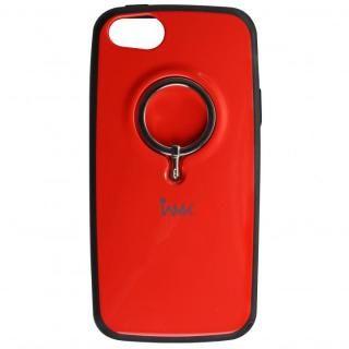 iPhone SE/5s/5 ケース IAMK 落下防止リング付きケース レッド iPhone SE/5s/5