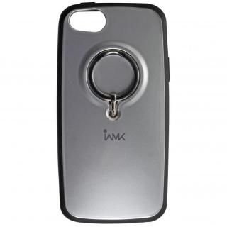 【iPhone SE/5s/5ケース】IAMK 落下防止リング付きケース シルバー iPhone SE/5s/5