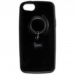 IAMK 落下防止リング付きケース ブラック iPhone SE/5s/5