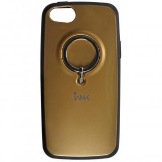 【iPhone SE ケース】IAMK 落下防止リング付きケース ゴールド iPhone SE/5s/5