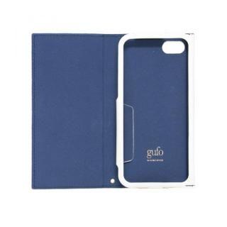 【iPhone7ケース】iPhone7対応 gufo ストラップ付手帳型ケース  ネイビーxホワイト_1