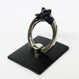 アニマルスマホリング ネコ/ブラック