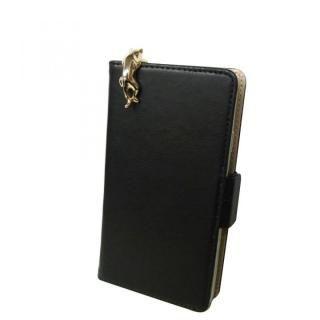 スマホ汎用手帳型ケース ゴールドキャット/ブラック