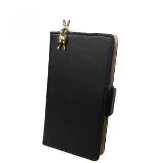 スマホ汎用手帳型ケース ラビット/ブラック