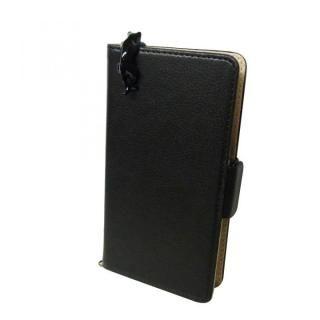 スマホ汎用手帳型ケース ネコ/ブラック